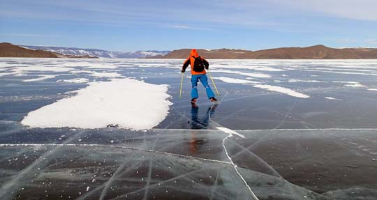 Skating on lake Baikal
