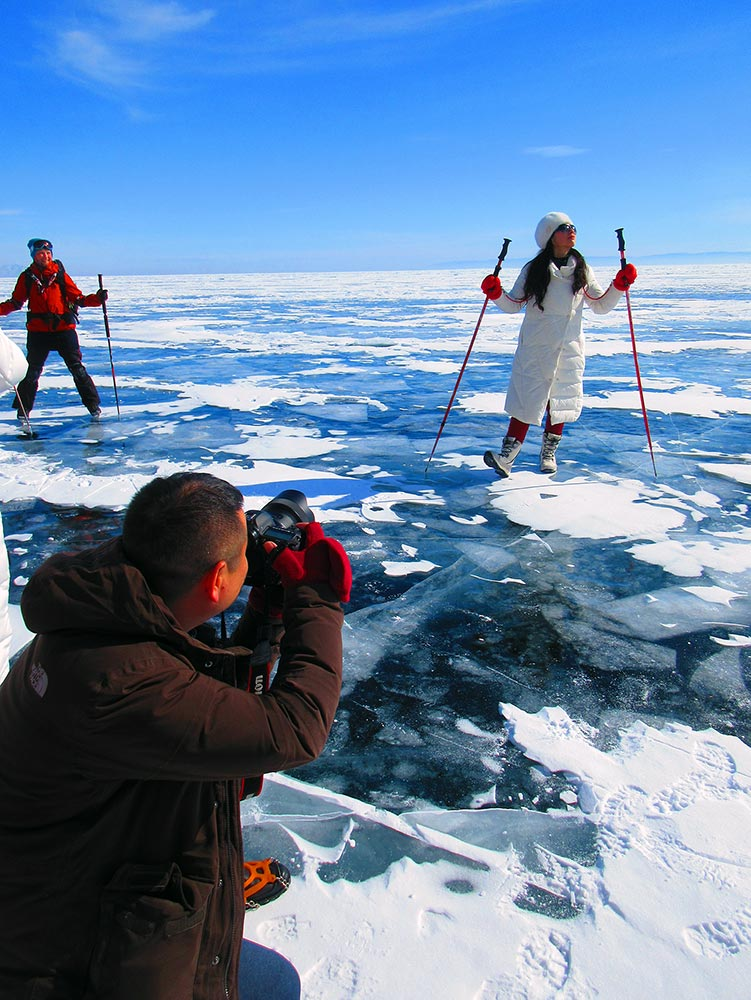 Posing for the camera at Lake Baikal